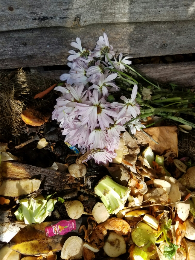 Compost pile with flowers
