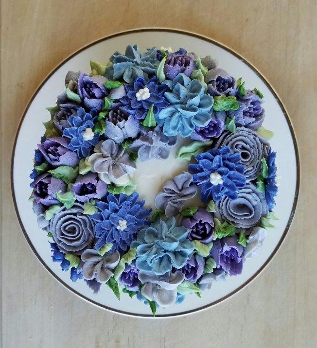Purple and Gray Flower Cake